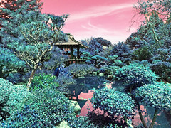 japanese garden pink blue-green effect (Aqua and Coral Imagery) Tags: lake nature colors reflections garden landscape japanese pagoda famous style stunning effect imagery