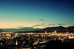 Taipei - Sky, Mountain, City -01 (bluetrayne) Tags: nightphotography longexposure analogphotography taiwan taipei nightscene night citylights cityscape skyline skyscraper building architecture colorful   101 taipei101 urban urbanlandscape landscape landscapephotography