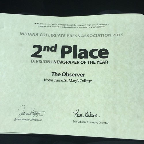 Congratulations the Editorial Board and staff of 2014 for their contributions to @ndsmcobserver. The Observer won second place in the category of overall newspaper of the year.
