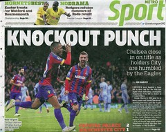 Palace 2 Man City 1 - newspaper report (2015) (The Wright Archive) Tags: park city jason news london manchester james newspaper back football metro crystal soccer report page match palaces clipping versus mcarthur cpfc puncheon selhurst