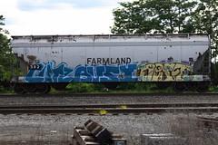 Cutz Busy Nest (BombTrains) Tags: road railroad art train bench graffiti paint nest many tag graf rail farmland spray busy graff too freight 2012 413 582 fr8 cutz benching dryp gfsx