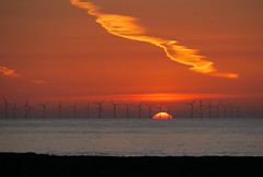 Early Morning walk (ray 96 blade (retired)) Tags: beach dawn jet pollution lowtide daybreak vapourtrails broadstairs planevapour goldenglow redskies stonebay sunriseoverwindfarm