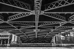 Bridge supports..... (Kevin Povenz) Tags: bridge blackandwhite bw chicago water architecture pattern steel april chicagoriver supports 2016 illinios sigma1020 canon7dmarkii kevinpovenz