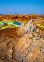 The colorful volcanic landscape of dallol in the danakil depression, Afar region, Dallol, Ethiopia (Eric Lafforgue) Tags: africa travel lake color green tourism nature pool beauty yellow vertical landscape outdoors volcano spring colorful solitude day desert natural earth acid horizon surreal nobody nopeople formation serenity heat minerals environment sulphur isolation geography geology ethiopia hotspring volcanic saline geothermal interest arid ecosystem hornofafrica afar eastafrica geological abyssinia afarregion dallol danakildepression ethio162029