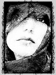 frax_woman_b&w (clabudak) Tags: woman abstract eye texture closeup scarf blackwhite artwork artistic lips crazygeniuses