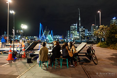 20160429-34-Auckland Viaduct Harbour at night (Roger T Wong) Tags: travel bridge newzealand people blackandwhite bw panorama monochrome television bike night lights mono bars neon harbour pano restaurants viaduct bicycles auckland crew nz northisland yachts polo foodtruck 2016 ptgui rogertwong sonya7ii sel28f20 sonyilce7m2 sonyalpha7ii sonyfe28mmf2