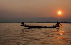 Magic hour (Tati@) Tags: light sunset water contrast dark fishing inlelake shanstate
