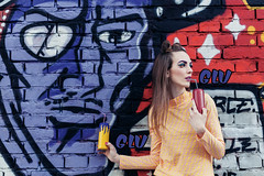 MISSY POP (DeboraDiDonato) Tags: street art colors fashion wall canon comics graffiti spring outfit model drink bricks creative surreal style pop story series shooting accessories concept conceptual murales styling concettuale gluglu