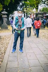 TLR shooter, Zoshigaya Kishibojin-do (Eric Flexyourhead (shoulder injury, slow)) Tags: man tlr film japan zeiss temple japanese tokyo friend photographer buddhist   analogue shallowdepthoffield toshimaku zoshigaya  toshima  55mmf18  sonyalphaa7 zeisssonnartfe55mmf18za  zoshigayakishibojindo