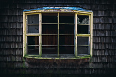 Withered (ALP Images) Tags: old broken window glass rotting bay fuji cedar weathered withered gsmnp elkmont xt1