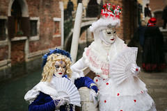 Venice Carnival (m-i-v) Tags: carnival blue venice portrait people woman white hat fan canal costume women couple mask character wig disguise blonde venezia