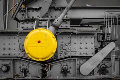 Red spot on Yellow dot (eldelfraval) Tags: yellow schweiz switzerland suisse machine svizzera rheinhafen baselland schweizerhalle