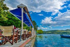 The turquoise of the sea and all the blue of the map! (dimitrisrentis) Tags: kastoria lake landscape city colour hellas macedoniagreece macedonian makedonia timeless