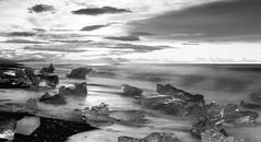 witnessing the real surreal (lunaryuna) Tags: ocean longexposure sky bw ice monochrome clouds sunrise season landscape iceland spring le shore lunaryuna seashore northatlantic diamondbeach seasonalchange southeasticeland jokulsarlonglacierlagoon blackmwhite lightmood blackvolcanicbeach