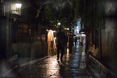 Shirakawa Dori ( Ogawasan) Tags: street reflection rain japan night kyoto asia  asie japon shirakawa