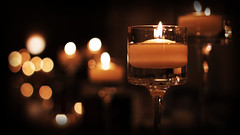 Candle Bokeh (M424Photo) Tags: light glass night dark evening candles candle darkness bokeh indoor candlelight depth contrastdepthoffield