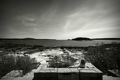 Contemplation at Grindstone Point 05.15.15 (rowland-w) Tags: ocean sea sky bw cloud water stone island horizon maine shore serene tranquil grindstone