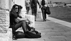 Sitting & Chillin' (Just Ard) Tags: street people blackandwhite bw woman white black blancoynegro monochrome face sunglasses person photography mono nikon sitting noiretblanc zwartwit cigarette candid 85mm shades smoking d750 unposed seated  biancoenero schwarzundweis justard