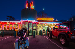 the chickenburger (angie pineappletree) Tags: moon canada night vintage bedford lights restaurant spring novascotia diner retro drivein neonsign bluehour