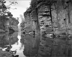 .  (Yuriy Sanin) Tags: trees blackandwhite 6 reflection rock river 4x5 foma sanin buki   yuriy         kievrus  topcor905