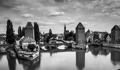 Rue des Moulins en B&W - Strasbourg. (Bouhsina Photography) Tags: street bridge bw white black france water canon eau strasbourg cathdrale rue ponts 2016 moulins ef247028 nd1000 bouhsina 5diii bouhsinaphotography