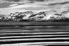 Iceland (almost) abstract (lunaryuna) Tags: bw snow abstract mountains ice monochrome season landscape coast blackwhite iceland spring lagoon ripples lowtide lunaryuna striations natureabstract seasonalchange saudarkrokr northfjords northieland