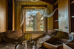 Blocking (KPortin) Tags: tree abandoned window kitchen curtain abandonedhouse filthy adamscounty cupboards