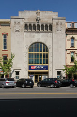 First National Bank  Troy, Ohio (Pythaglio) Tags: county street blue trees ohio sky building cars window stone altered miami text arcade columns entrance first bank troy arches structure sidewalk national romanesque financial carvings 1929 capitals veneer threestory pecuniary roundarched mia2275