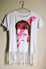 Women's Shredded/ Fringed David Bowie T Shirt (shopthegasstation) Tags: ladies girls white rock shirt altered clothing cut top band tshirt fringe womens gasstation clothes jersey fringed etsy distressed tee destroyed shredded davidbowie ziggystardust