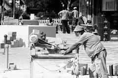 Work in progress (kostak89) Tags: summer blackandwhite work workinprogress naturallight canoneos20d manualfocus hotday kraljevo brickcutter m42lenses lavpivo prinzgalaxy135mm35 izgradnjaulice lavbeer
