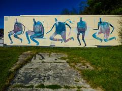 Now I Just Sit in Silence (Steve Taylor (Photography)) Tags: blue newzealand streetart man black men art strange grass yellow headless graffiti weird crazy mural jon odd montypython nz mauve southisland mad carradio acronym 2014 owar prts ministryofsillywalks drypnz dryp twentyonepilots 21pilots nowijustsitinsilence