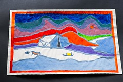 tribute to Ted Harrison, my old artworks (gks18) Tags: dog canada art ice colors painting paint colours north tent arctic 1991 tribute northern sled northernlights artworks northerncanada tedharrison canon7d norherncolors