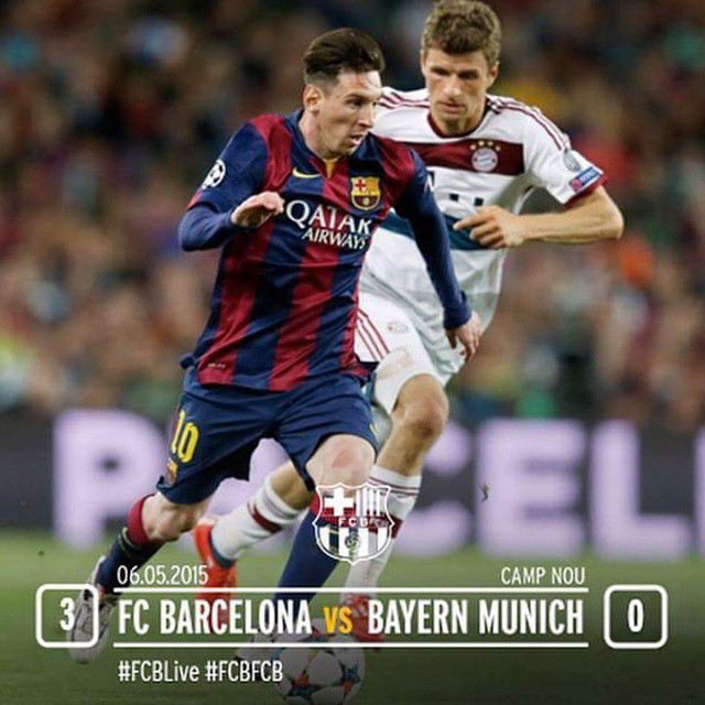 FC Barcelona  3 vs 0 Bayern Munich  Messi 70 80 Neymar 90+4