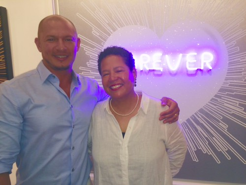 Brazilian artist Rubem Robierb with Gail Williams at the opening of his show Heart series at the Williams McCall gallery on South Beach