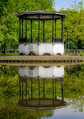 Symmetrical Reflection (yousavetheday) Tags: park trees summer sky reflection green water netherlands amsterdam stone canon lumix eos pond kiss europe outdoor gazebo symmetry panasonic daytime bandstand rotunda vondelpark x4 traveldiary nonagon