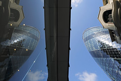 London Looking Up 5 (Two Gherkins) (mark f2.9) Tags: london tower skyline relection block upwards skyscrapper