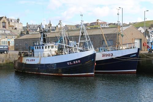 22nd April 2016. Prosperity UL250 and Aspire B903 in Macduff Harbour, Banffshire, Scotland.