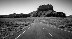 Road to the Citadel (dlanglois2) Tags: road blackandwhite bw mountain west nature monochrome rock america canon landscape utah desert places nik goblinvalley