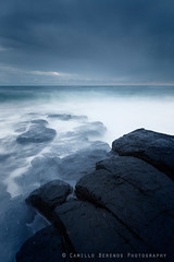 Black, blue and white (Camillo Berenos) Tags: greatbritain england seascape storm dark twilight mood moody dusk northumberland northsea bluehour seascapephotography