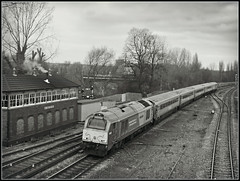 A gloomy end............ (Jason 87030) Tags: uk greatbritain england sky bw white black clouds train photoshop silver dark tren grey mono noir unitedkingdom box bbw border tracks railway edge frame gloom skip effect signal blanc dull toc banbury oxon wrexham trainsport class67 67014 oxfordhshire shrospgire