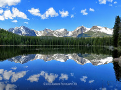 Bierstadt Lake Reflections in Rocky Mountain National Park (RondaKimbrow) Tags: lake mountains scenery colorado fineart scenic peaceful estespark homedecor rockymountainnationalpark bierstadt officedecor hallettpeak coloradolandscape coloradophotography coloradoimages rondakimbrowphotography