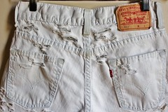 Women's Levi's Faded, Frayed and Bleached Distressed White High Waisted Denim Shorts (shopthegasstation) Tags: ladies girls summer white beach clothing jean ripped womens clothes faded denim shorts boho levis distressed destroyed shredded frayed shabby cutoffs