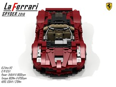 Ferrari LaFerrari Spider (2016) (lego911) Tags: ferrari laferrari spider spyder convertible v12 hybrid itlay italian 2016 auto car moc model miniland lego lego911 ldd render cad povray suprcar sports sportscar midengine
