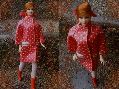 Stacey wearing Polka Dots 'N Raindrops (DeanReen) Tags: pink red white 1969 turn vintage silver mod doll eyelashes stacey skin bend head leg n barbie mint spit twist astronaut tights 1966 polka 1967 raindrops zipper ponytail 1970 1968 curl dots tnt 1985 francie ykk titian