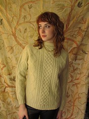 Fancy redhead women in wool sweater (Mytwist) Tags: winter irish classic wool fashion fetish cozy warm fuzzy cream ivory craft redhead fishermans knitted aran timeless handcraft bulky fasion laine vouge handknitted cabled woolfetish handgestrickt mytwist aranstyle