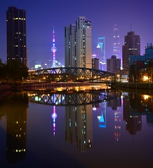 Shanghai - Suzhou Creek Reflections (cnmark) Tags: china light reflection building night creek skyscraper reflections river mirror suzhou shanghai district tall    zhabei wusong allrightsreserved