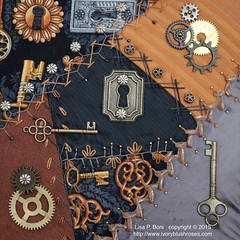 2015.05.05SteampunkDYBRRforWilma (ivoryblushroses) Tags: keys beads embroidery cq embellishment block gears steampunk crazyquilting dyb roundrobin