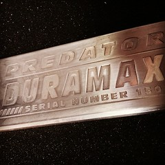 "Predator #duramax conversion badge. Fresh out of the R&D department. #hummer #h1  #h2 • <a style=""font-size:0.8em;"" href=""http://www.flickr.com/photos/51336812@N07/16975148778/"" target=""_blank"">View on Flickr</a>"