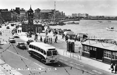 Morecambe - Clock Tower Central (trainsandstuff) Tags: clocktower morecambe vintage seaside postcard retro bus lancashire old uk britain archival history oldpostcard