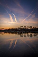 Reflection (Cerca_Trova) Tags: sunset sky reflection water de soleil eau coucher lac ciel reflexion